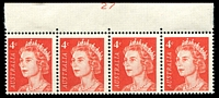 Lot 2447:1966-73 4c QEII Helecon Paper BW #439zk strip of 4 from top of sheet with plate no 27, hinged in margin.