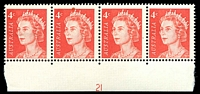 Lot 2445:1966-73 4c QEII Helecon Paper BW #439zea strip of 4 (2**) from base of sheet with plate No 21.