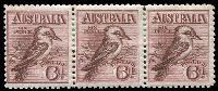 Lot 1094:BW #60 6d Kookaburra strip of 3, nice multiple.