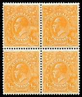 Lot 2906:½d Orange - BW #68 block of 4 (2**).