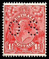 Lot 691:1½d Red Die II - BW #91bb perf 'OS'.