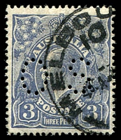 Lot 797:3d Blue Die Ia - BW #106aa Type A perf 'OS' with Inverted Wmk.