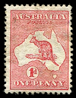 Lot 117:1d Red Die I BW #2(C)d [CL4] Break at top of Kangaroo's paw, Cat $20.