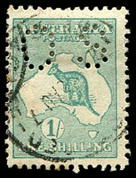 Lot 176:1/- Emerald - BW #31ba perf 'OS', Cat $475.