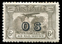 Lot 553:1931-38 Kingsford Smith Airmail Overprinted 'OS' BW #144(OS) 6d dull brown.