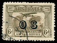 Lot 554:1931-38 Kingsford Smith Airmail Overprinted 'OS' BW #144(OS) 6d dull brown fine used