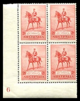 Lot 852:1935 Silver Jubilee BW #166(6)zb 2d carmine red lower left hand corner block of 4 (1**) with plate No 6.