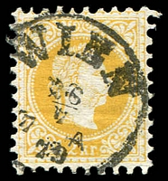 Lot 3663:1867 Kaiser Franz Joseph SG #59 2Kr yellow Perf 9 with fine hair.