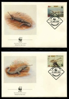 Lot 17443 [2 of 3]:1990 Gharial MUH set on WWF pages giving details of this threaten species comes together with set on WWF illustrated FDCs, unaddressed nice lot.