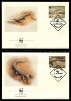 Lot 17443 [3 of 3]:1990 Gharial MUH set on WWF pages giving details of this threaten species comes together with set on WWF illustrated FDCs, unaddressed nice lot.