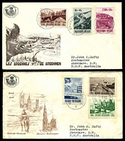 Lot 3541:1953 Tourist Scenes set tied to two illustrated FDCs by Bruxelles cds 22-6-53. (2)