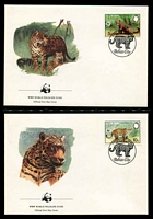Lot 18014 [3 of 3]:1983 Jaguar MUH set on WWF pages giving details of this threaten species comes together with set on WWF illustrated FDCs, unaddressed nice lot.