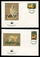 Lot 20326 [2 of 3]:1984 Golden Langur SG #521-4 MUH set on WWF pages giving details of this threaten species comes together with set on WWF illustrated FDCs, unaddressed nice lot.