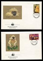Lot 20326 [3 of 3]:1984 Golden Langur SG #521-4 MUH set on WWF pages giving details of this threaten species comes together with set on WWF illustrated FDCs, unaddressed nice lot.