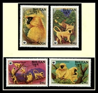 Lot 20326 [1 of 3]:1984 Golden Langur SG #521-4 MUH set on WWF pages giving details of this threaten species comes together with set on WWF illustrated FDCs, unaddressed nice lot.