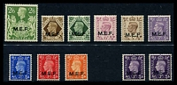 Lot 3172:1943-7 KGVI Ovpts SG #M11-19 set to 2/6d, plus 1942 3d violet two types, SG #M4 & M9. (11)