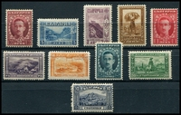 Lot 3802:1921 Pictorials SG #226-38 simplified set, excl 20st blue-green, 50st deep blue & 1L deep blue, Cat £30. (10)