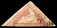 Lot 3795:1863-64 DLR Triangles SG #18c 1d brownish red, with two good margins, Cat £225.