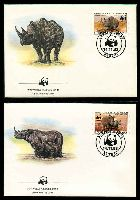 Lot 20909 [2 of 3]:1983 Black Rhinoceros MUH set on WWF pages giving details of this threaten species comes together with set on WWF illustrated FDCs, unaddressed nice lot.