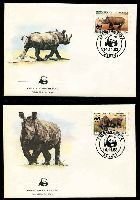 Lot 20909 [3 of 3]:1983 Black Rhinoceros MUH set on WWF pages giving details of this threaten species comes together with set on WWF illustrated FDCs, unaddressed nice lot.