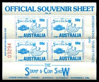 Lot 23:Australia: 1986 The Stamp & Coin Show International Sydney Year of Peace sheetlet of 4.
