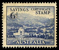 Lot 1:Australia: WWII 6d Canberra War Memorial Savings Certificate Stamp mild adhesion to reverse do not detract from this scarce stamp.