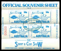 Lot 4 [2 of 3]:Australia: Stamp & Coin Show Sydney Souvenir sheet of 4 set of 3 each cancelled with appropriate days special cancel. (3)