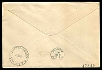 Lot 18332 [2 of 2]:1952 illustrated Qantas cover with Australian adhesives cancelled R.A,A.F. PO COCOS  ISLAND 1 SE 52 and backstamped Mauritius 3 SEP 1952 and return flight to Cocos 8 SE 52, boomerang cover.