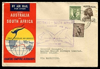 Lot 18332 [1 of 2]:1952 illustrated Qantas cover with Australian adhesives cancelled R.A,A.F. PO COCOS  ISLAND 1 SE 52 and backstamped Mauritius 3 SEP 1952 and return flight to Cocos 8 SE 52, boomerang cover.