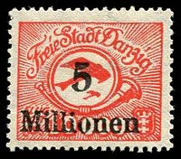 Lot 3878:1923 Airs Mi #180FI 5 Millionen on 10,000 error overprint
