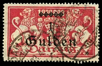 Lot 3881:1923 Overprints Mi #189 1G on 1 Mil M carmine