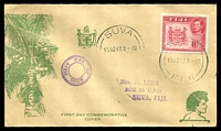 Lot 21071:1938- 55 Pictorials illustrated FDC with KGVI 8d SG 261c tied by Suva cds 15 No 48.