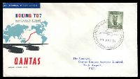 Lot 19562 [1 of 2]:1959 Australia - Fiji illustrated Qantas 707 cover with adhesive cancel by special cancel Sydney 29July 59 backstamped Nadi Airport Fiji 29JUL59.