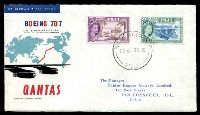 Lot 22037 [1 of 2]:1959 Fiji - USA illustrated Qantas 707 cover with adhesives tied by Nadi Airport cds 29JUL59 and backstamped San Francisco JUL 29 1959.