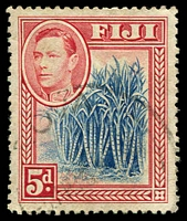 Lot 3431:1938-55 KGVI Pictorials SG #258 5d blue and scarlet.