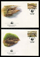 Lot 3474 [2 of 3]:1984 Nile Crocodile SG #544-7 MUH set on WWF pages giving details of this threaten species comes together with set on WWF illustrated FDCs, unaddressed nice lot.