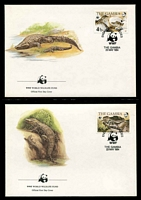 Lot 3474 [3 of 3]:1984 Nile Crocodile SG #544-7 MUH set on WWF pages giving details of this threaten species comes together with set on WWF illustrated FDCs, unaddressed nice lot.