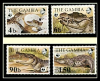 Lot 3474 [1 of 3]:1984 Nile Crocodile SG #544-7 MUH set on WWF pages giving details of this threaten species comes together with set on WWF illustrated FDCs, unaddressed nice lot.