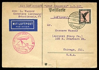 Lot 3765:1929 Graf Zeppelin Orient Flight card to USA with 1M tied by Friedrichshafen cds 24MR29 with fine Orient Flight cachet in pink at left.