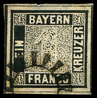 Lot 21443:Bavaria: 1 Kr black Mi 1 with four large margins, some thinning at top but fine appearance.