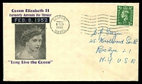 Lot 3584:1952 QE II Formerly Ascends the Throne illustrated cover with adhesive cancelled Gosport 8 FEB 1952.