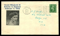 Lot 4150:1952 QE II Returns to England illustrated cover with adhesive cancelled with Gosport cancel 7 FEB 1952.