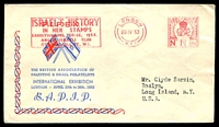 Lot 3573:1953 the British Association of Palestine & Israel Philatelists International Exhibition illustrated Exhibition cover with 1½d Exhibition Meter cancel London 20 IV 53 being first day of Exhibition, nice cover.