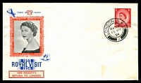 Lot 4151:1954 Her Majesty's Return to London illustrated cover with adhesive tied by London canc 15 MY 54.