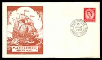 Lot 3585:1957 Mayflower Ships Mail illustrated cover with adhesive tied by Mayflower Maiden Voyage canc APR JLY 1957, unaddressed.