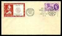 Lot 3586:1960 London International Stamp Exhibition cover with adhesive tied by Exhibition cancel London 16 JLY 1960 with Exhibition label at left, unaddressed.