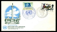 Lot 3587:1966 United Nations Stamp Exhibition illustrated cover with UN & GB adhesives tied by special cancels 23 OCT 1966, unaddressed.