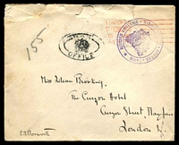 Lot 3822:1917: stampless cover to London with Mission Anglaise Ministrey De La Guerre - Paris frank stamp with London Official Paid Apr 11 17 machine cancel in red and War Office double Oval handstamp in black at left, roughly opened.