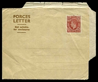 Lot 23247:1945 KGVI Forces Letter Sheet: HG #4 1½d brown on buff, few minor edge faults, mint.