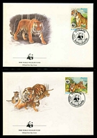 Lot 25181 [3 of 3]:1984 Tiger SG #704-7 MUH set on WWF pages giving details of this threaten species comes together with set on WWF illustrated FDCs, unaddressed nice lot.